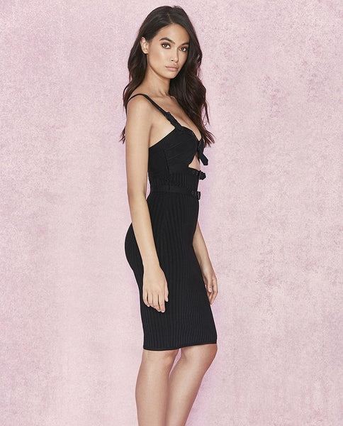 Omacho Black Ribbed dress with buckles