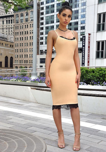 Flora Peach Bandage Glam Dress | Fashion Miami Styles