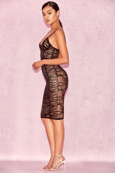 Morengo Black&Nude Sheer Tulle Dress