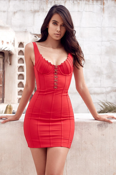 Arista red crepe stretch mini dress