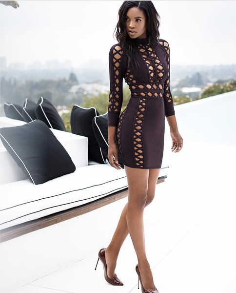 Aziza Brown Open wave Bandage luxury dress