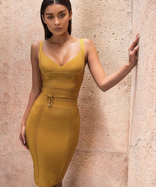 BELICE Ginger Tie Waist Bandage Midi Dress
