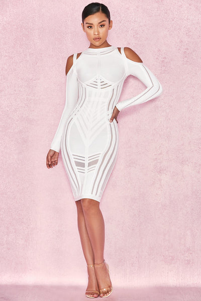 Cold White Open Shoulders Midi Dress