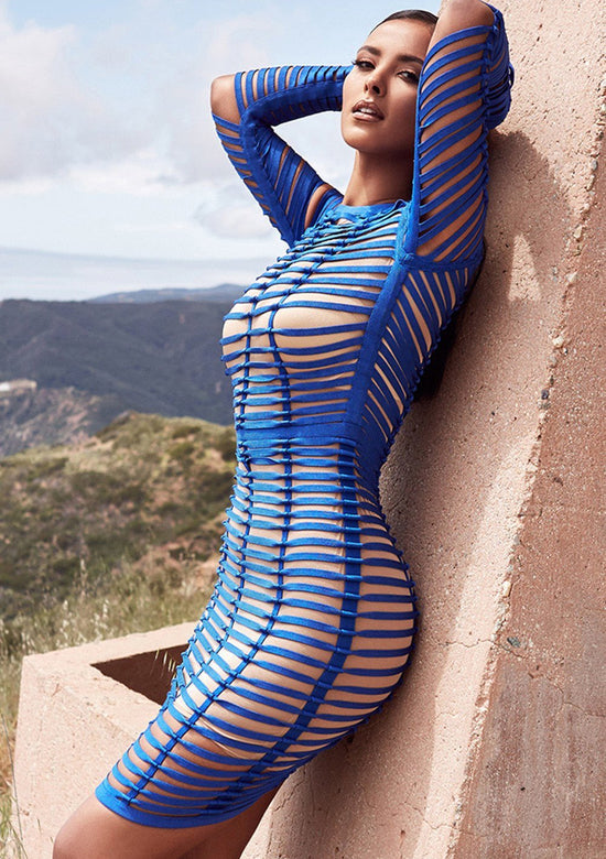 AMINA Royal Blue Bandage Cage Dress