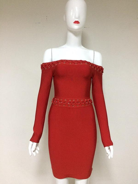Red Lace Up dress Lattice Detail Off Shoulder Long Sleeve Bandage Dres