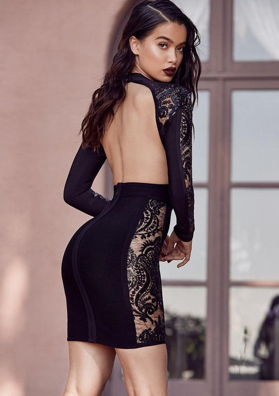 Gizi Black Backless Bandage Lace Dress