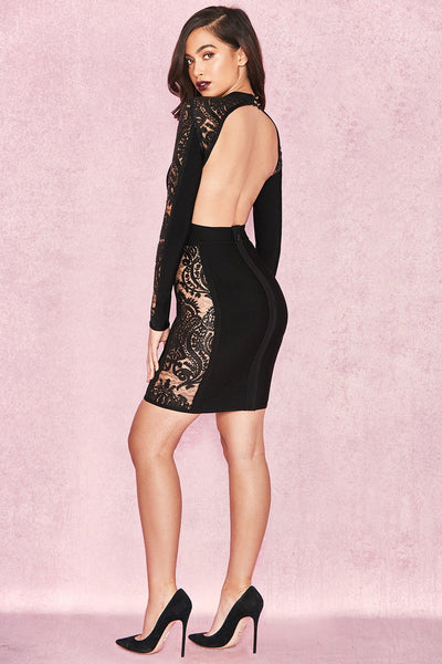 Black Backless Bandage Lace Dress Miami Designer Celebrity Dresses