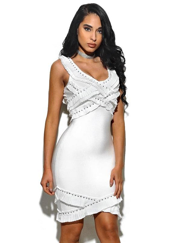 Devon Ruffle And Stud Bandage Dress