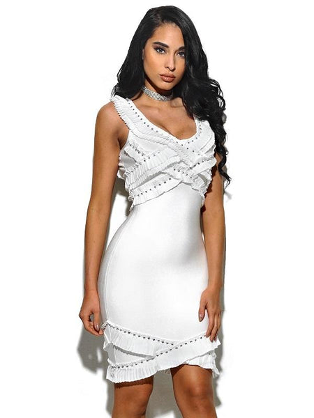 New Miami Design White Bandage Dress | Fashion Miami Styles