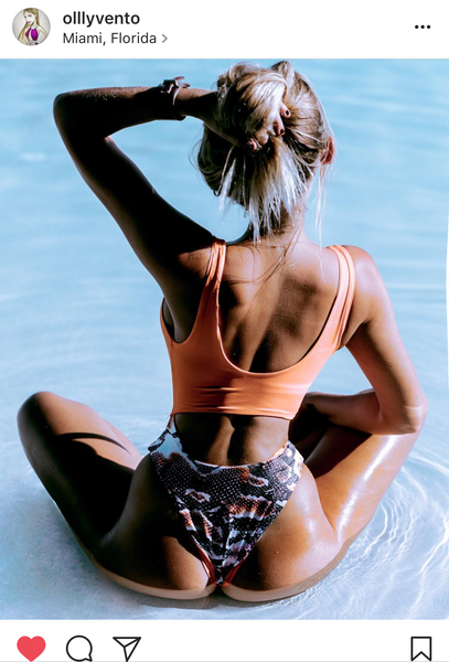 Orange and Snake Printed Swimsuit