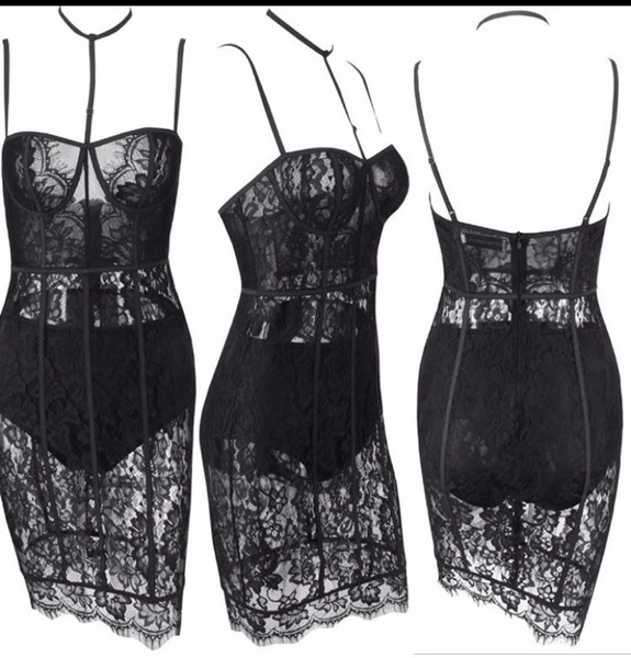 Black lace glamour party dress Miami dress designer Miami hot styles