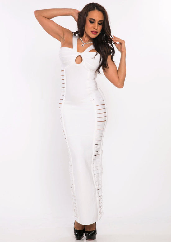 White Get Ripped Heavy Bandage Dress