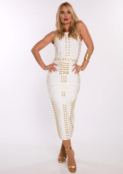 White Gold Accent Miami Styles Dress | Fashion Miami Styles