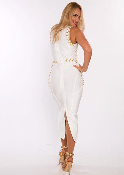 White Gold Accent Miami Styles Dress
