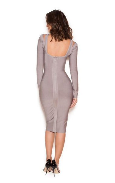 Grey Long Sleeve Cut Bandage Dress Miami Styles
