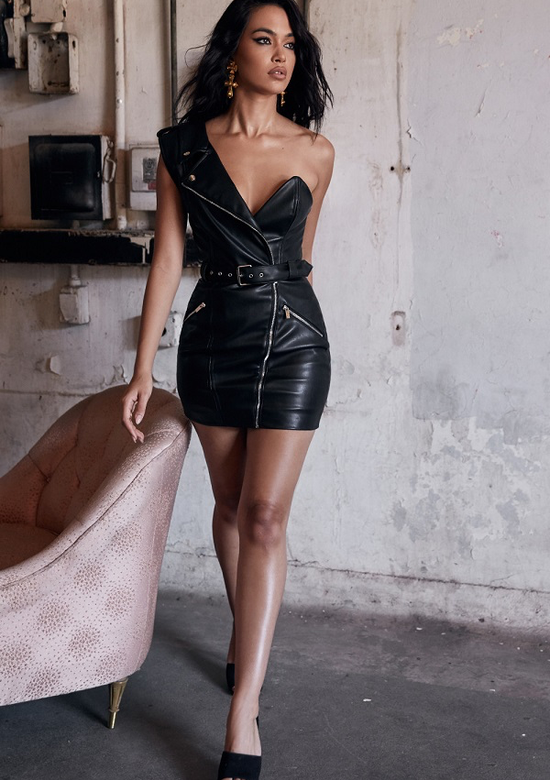 New Wave Faux Leather Dress