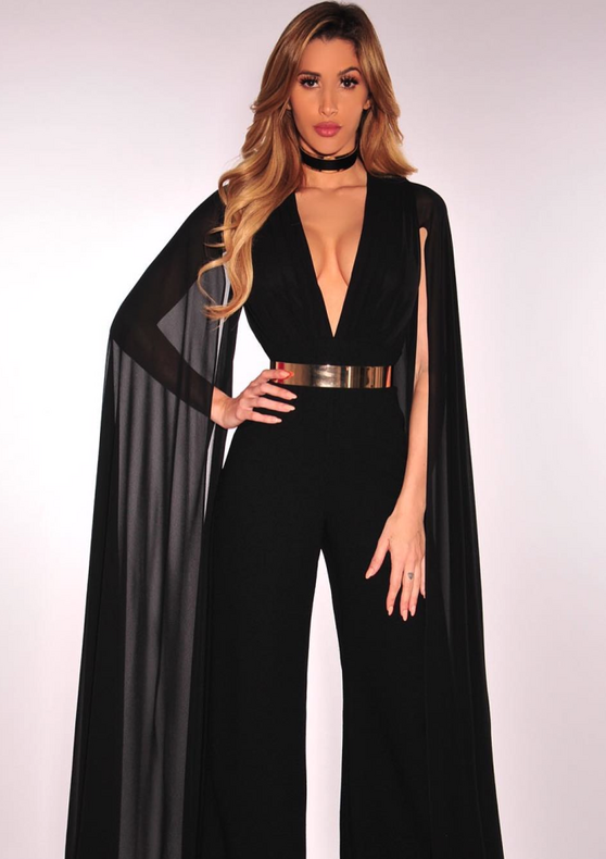 6f4329510d42 Black Flowing Long Sleeve Jumpsuit | Fashion Miami Styles