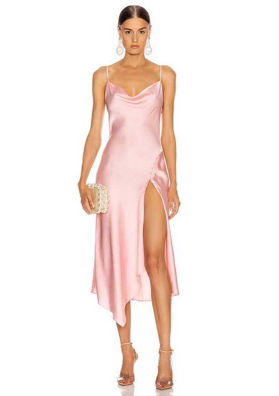 Susan Pink Satin Maxi Dress