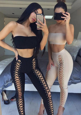 Lola Bandage Pants Set in Nude & Black