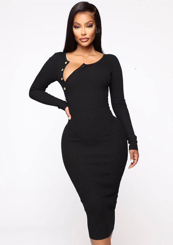 Paulina Long Sleeved Ribbed Maxi Dress