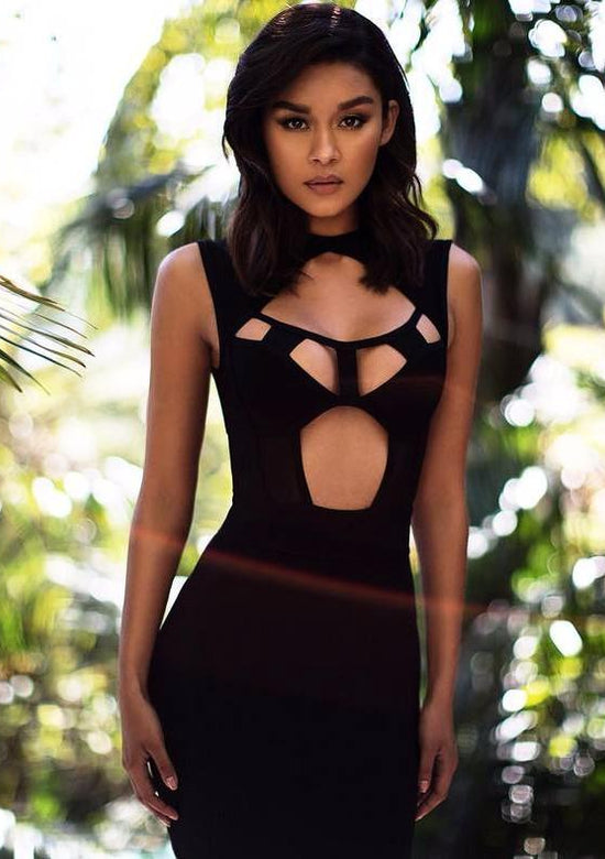 Aravena Black Cut Out Bandage Dress