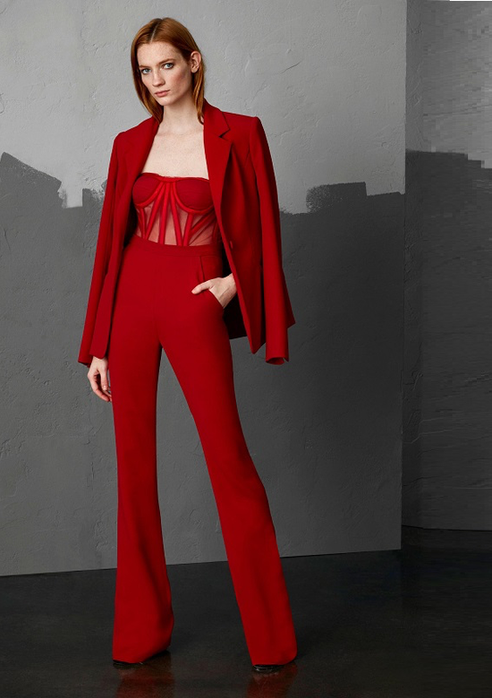 Ruby Red Dramatic Luxury Two Piece Jacket & Jumpsuit