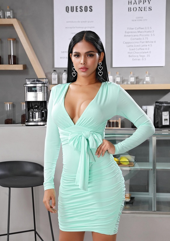 Shannon Form Fitting Pastel Dress In Aqua & Pink