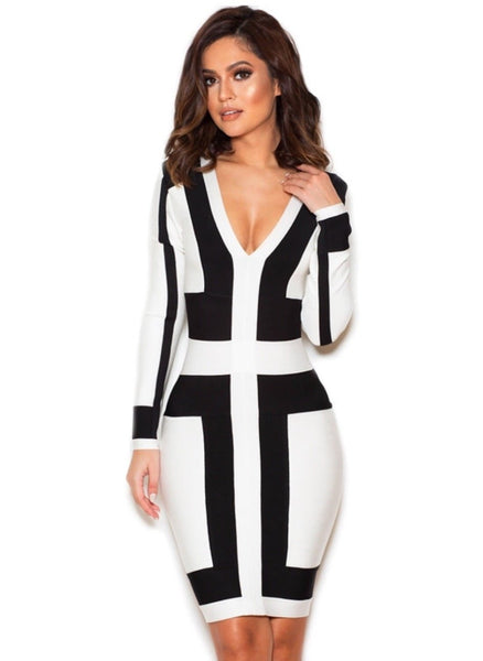 Carelia Black and white graphic print bandage dress