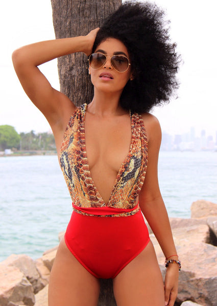 Miss Africa Red Printed Wild Swimsuit, Open Back One Piece Swimwear -  FashionMiamiStyles - 1