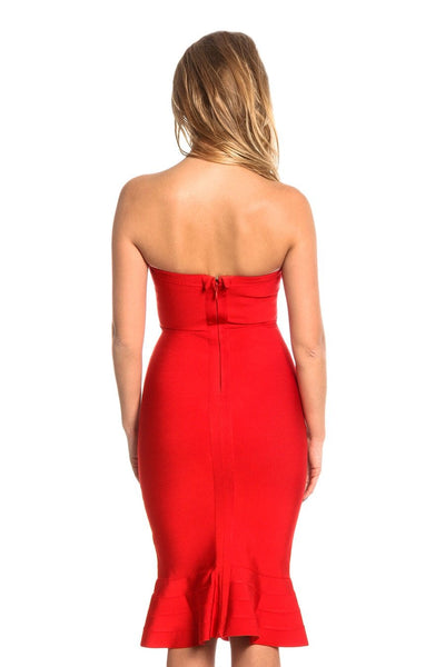 Fabrizia One Shoulder Bandage Fluted-Hem Dress in Red & White, Black colors
