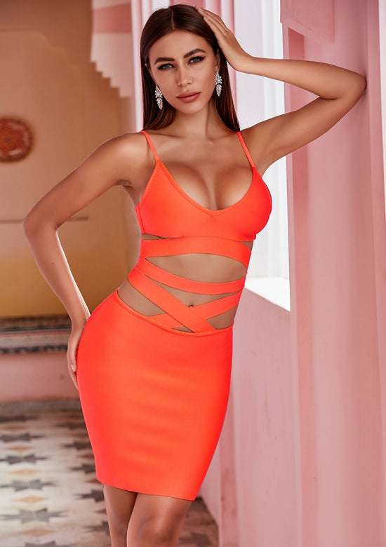 Mia Orange Mini Dress