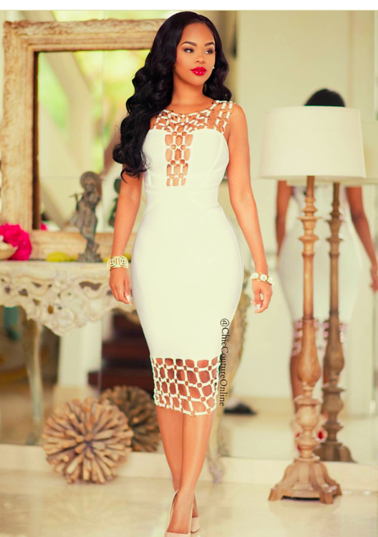 Joyce White Bandage Dress with gold chain design