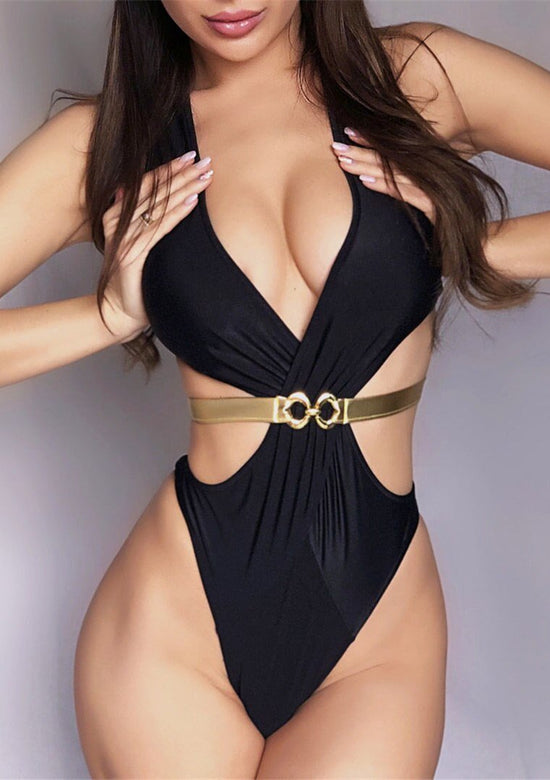 Sleek Gold Belted One Piece