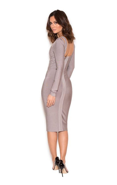 Grey Long Sleeve Cut Bandage Dress Styles