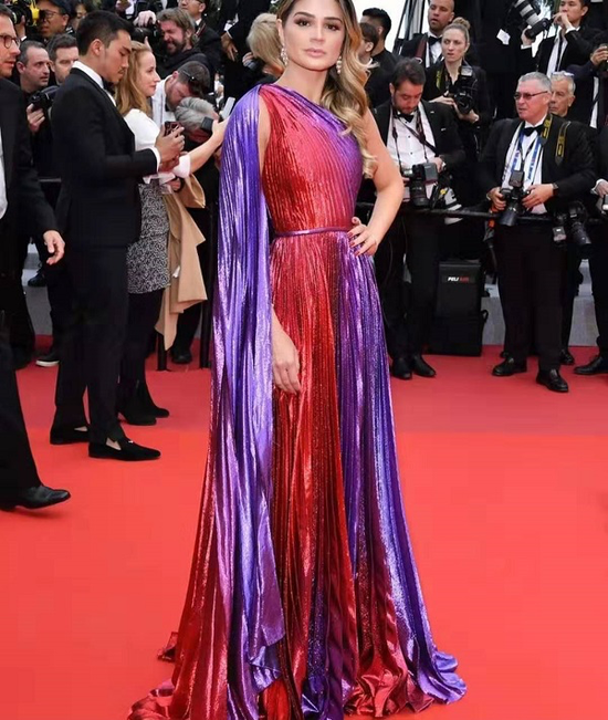 Red & Purple Red Carpet Gown