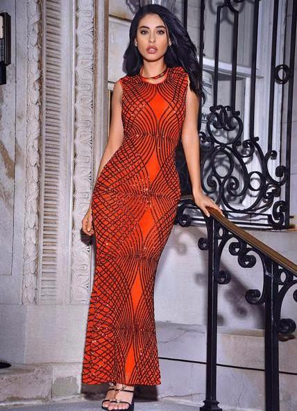 Winona Sleeveless Orange Beaded Gown