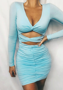 Baby Blue Backless Mini Dress