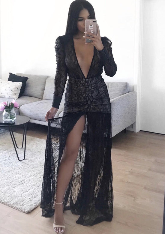Graff Black Lace Super Plunge Maxi dress