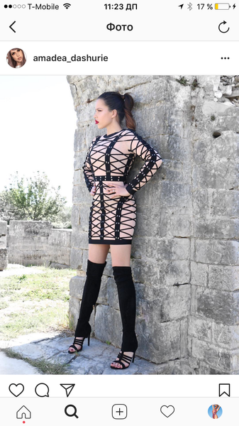 June Nude and Black eyelet and rouleau lace-up dress