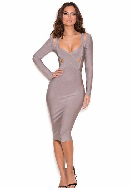Grey Long Sleeve Cut Bandage Dress