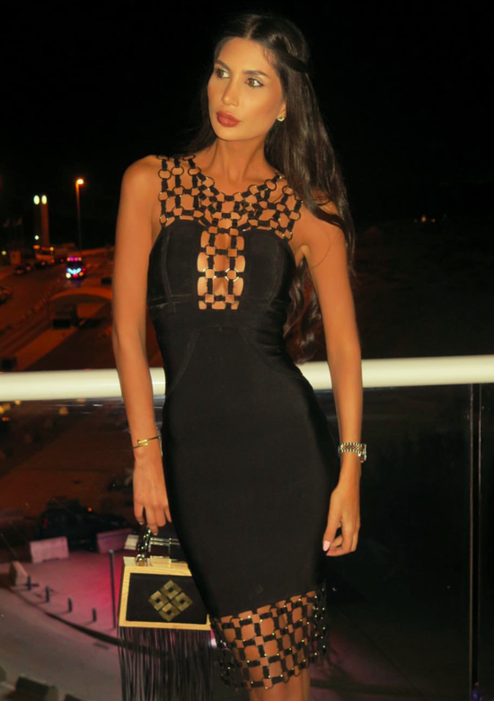 Joyce Black Bandage Dress with gold chain design