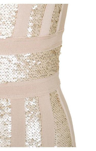 Massima pink & gold bandage sequin dress