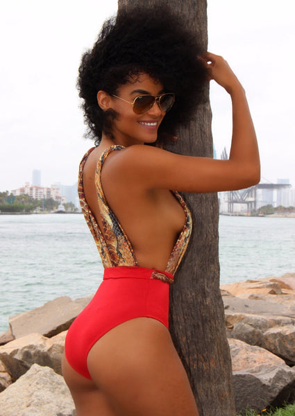 Miss Africa Red Printed Wild Swimsuit, Open Back One Piece Swimwear -  FashionMiamiStyles - 2