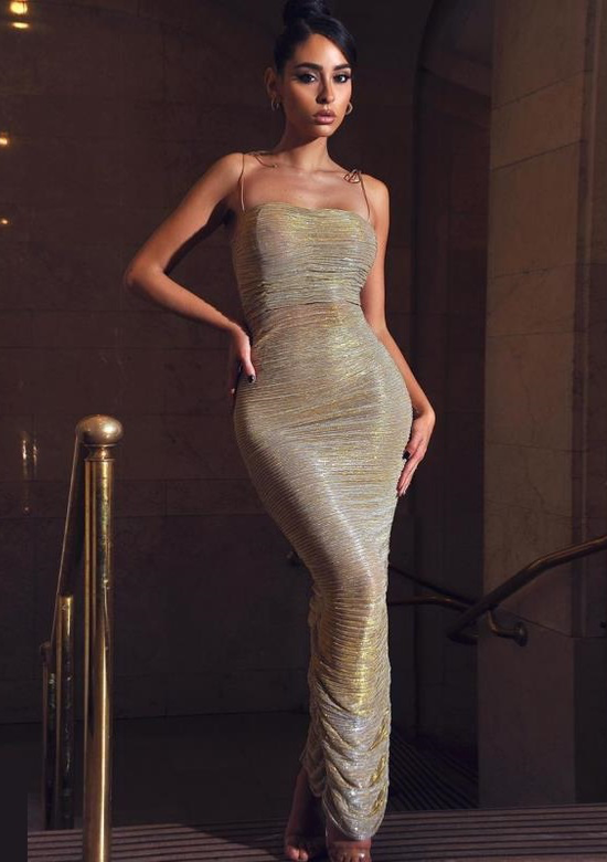 Golden Maxi Evening Dress