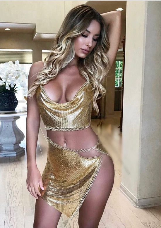 Sexy Mesh Metal Dress Outfit
