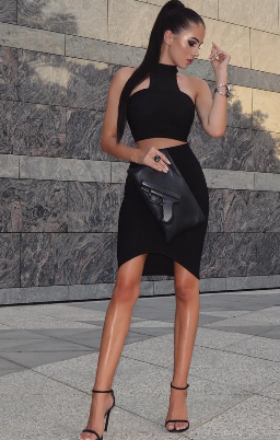 Celebrity style Bandage Cut Out Party Dress