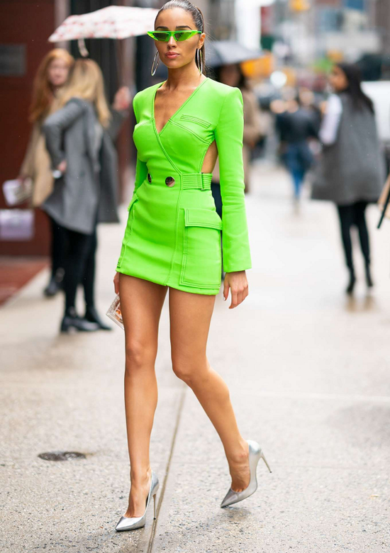 Rhonda Neon Green Dress With Side Cut Outs