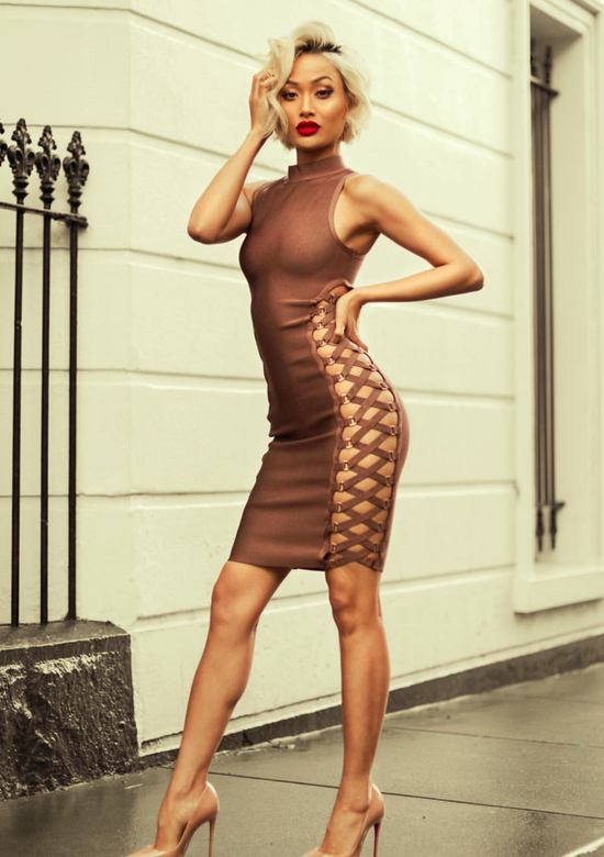 Latte Lace Up  Contour Bandage Dress