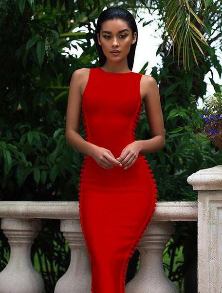 Martinique side wave bandage dress in Red& Black colors