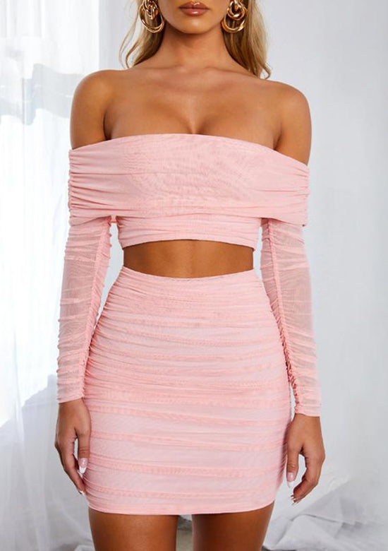 Cotton Candy Pink Cropped Two Piece Set